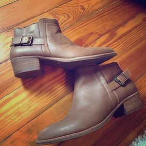 Brown leather booties Size 8.5